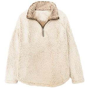 Sweaters - Ivory Fuzzy Sherpa Pullover